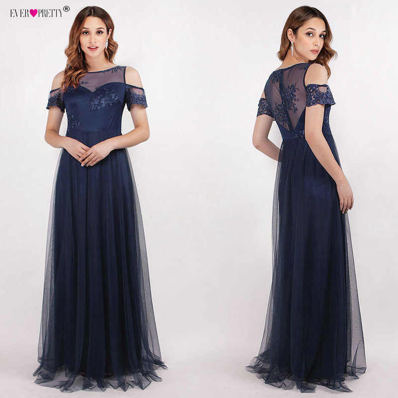 Robe De Soiree Ever Pretty 2018 Navy Blue Tulle Lace Appliques Long Mother of the Bride Dresses for Wedding A-line Formal Dress