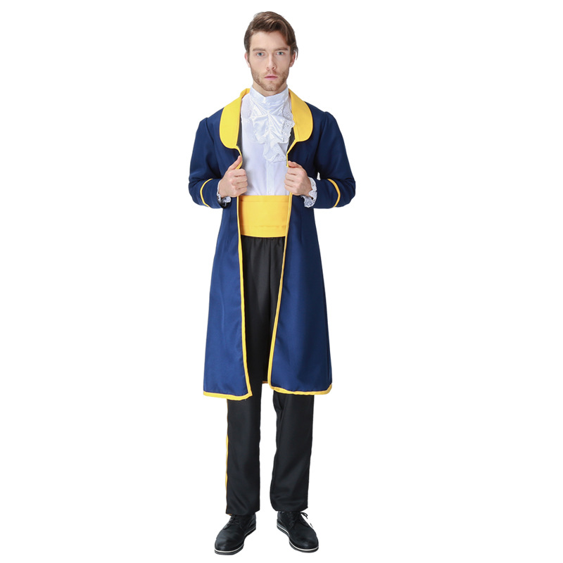 Adult Men Beauty and The Beast Prince King Costume Halloween Party Prince Deluxe Cosplay Fantasia Fancy Dress