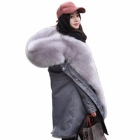 Fox Fur Coat Women Pink Lining Suede Fur Camo Thick Jacket 2018 Winter New Warm Hooded Collar Parka Plus Size Outerwear PJ313
