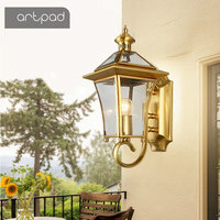 Artpad IP65 Waterproof Nordic Copper Outdoor Wall Light Garden Decoration Balcony Porch Front DoorOutside Led Wall Mounted Light