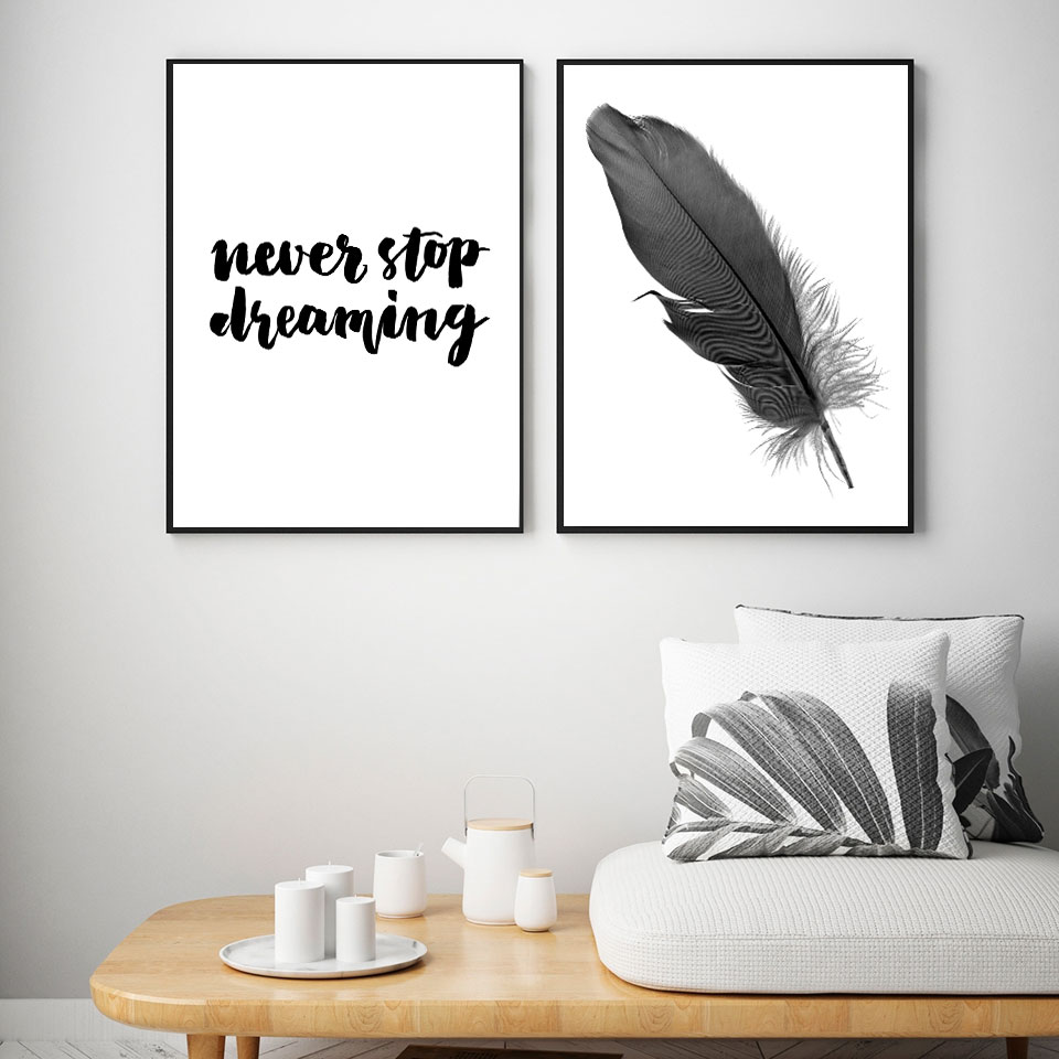 Schwarz Weiß Wand Bilder Feder Traum Zitate Nordic Poster Und Drucke Wand Kunst Leinwand Malerei Für Wohnzimmer Schlafzimmer Dekor