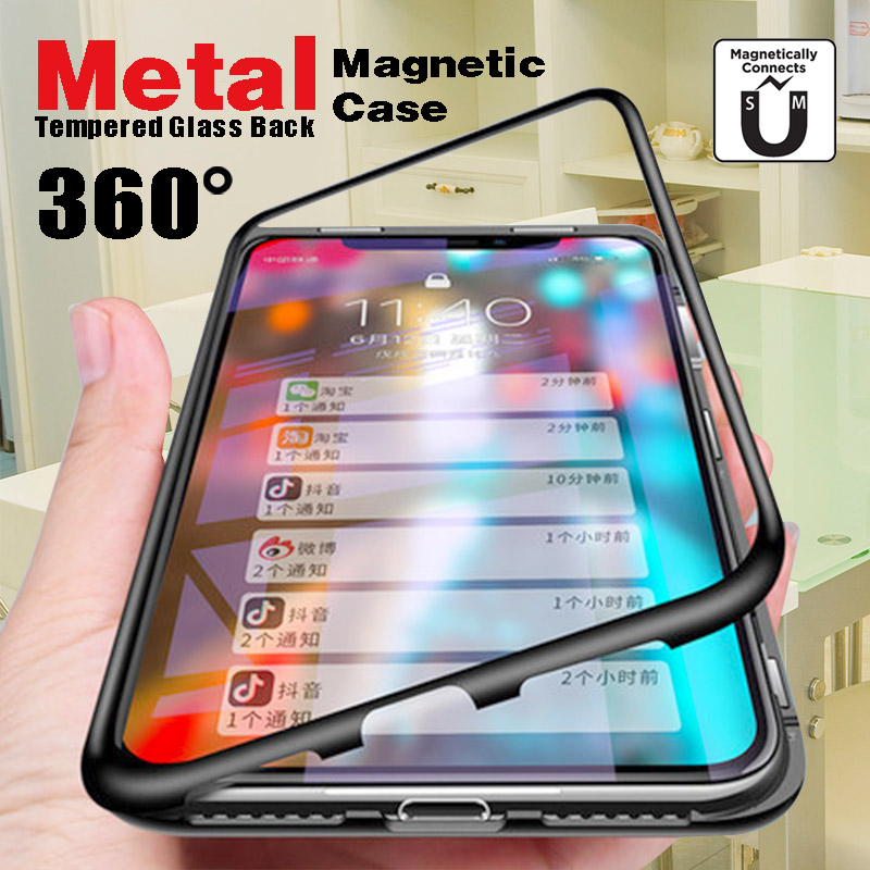 Magnetic <font><b>Case</b></font> for One Plus 6T 5T Metal Frame <font><b>Magnet</b></font> Flip Cover For One Plus <font><b>6</b></font> Glass Back Cover For iPhone X XS XR XS Max image