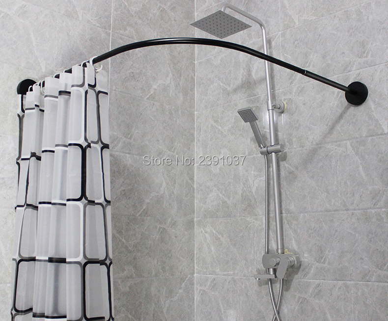 304 stainless l shaped curved black shower curtain rod shower curtain poles punch free suction cups bathroom curtain rail track