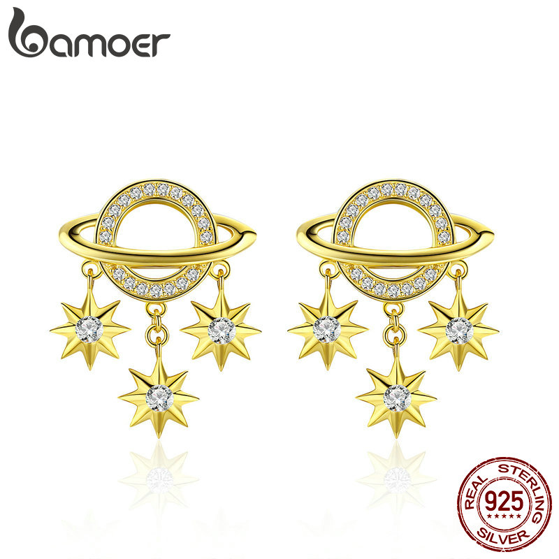 BAMOER Korea Earrings for Women 925 Sterling Silver Galaxy Coment Star Drop Earring Ear Pendant 2019 New Fashion Jewelry SCE587BAMOER Korea Earrings for Women 925 Sterling Silver Galaxy Coment Star Drop Earring Ear Pendant 2019 New Fashion Jewelry SCE587