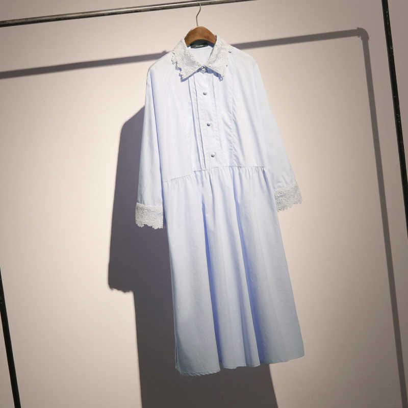 LANMREM/Новинка 2019 года; кружевное платье-рубашка в стиле пэчворк для женщин; сезон весна-лето; модная женская блузка с длинными рукавами; Vestido; Лидер продаж; YG738