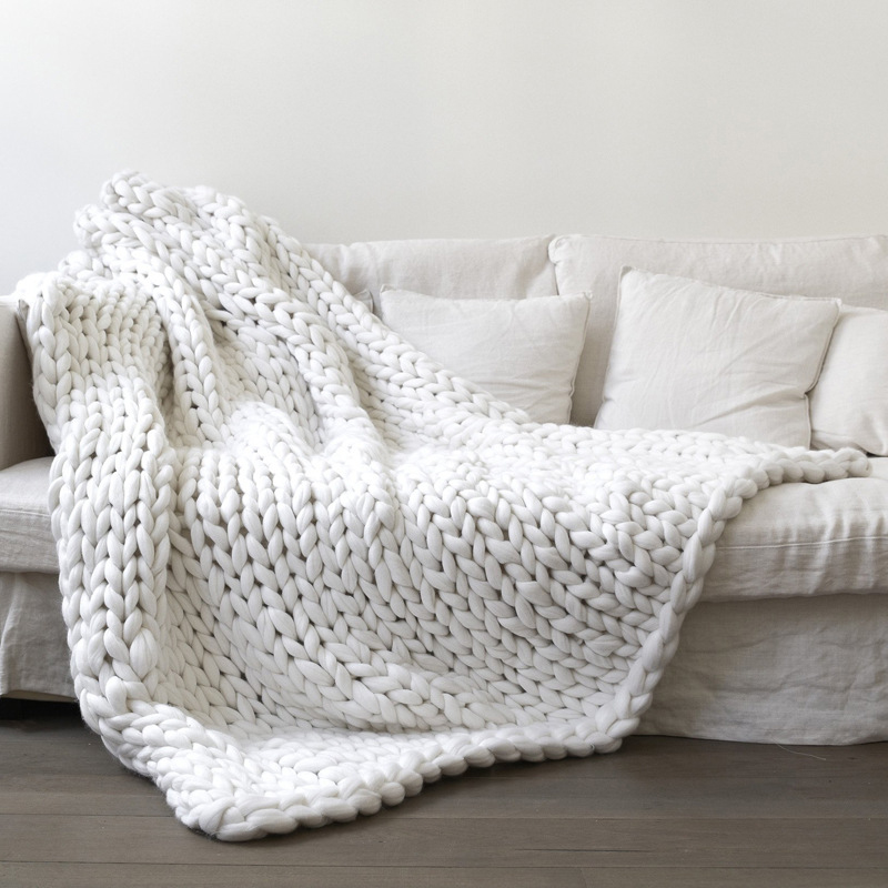 1pc 100x150cm Warm Winter Handmade Chunky Knitted Blanket Thick Yarn Merino Wool Bulky Knitted Blanket Sofa