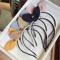 Корея Мода Жемчужное Колье заячьими ушками луки для обувь девочек сладкий повязка с цветком Корона повязка ручной работы Бутик аксессуары