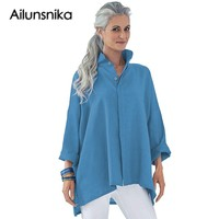 Ailunsnika 2018 New Arrival Autumn Women Casual Lemon Gray Black Navy Orange Turquoise Stand Collar Button Front Blouse DL251412