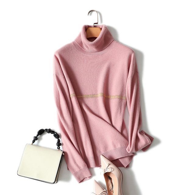 Shuchan Sweater And Pullover For Women 2018 Autumn Winter 100% Cashmere Sweater Turtleneck Sweater Knitted Loose Casual Female