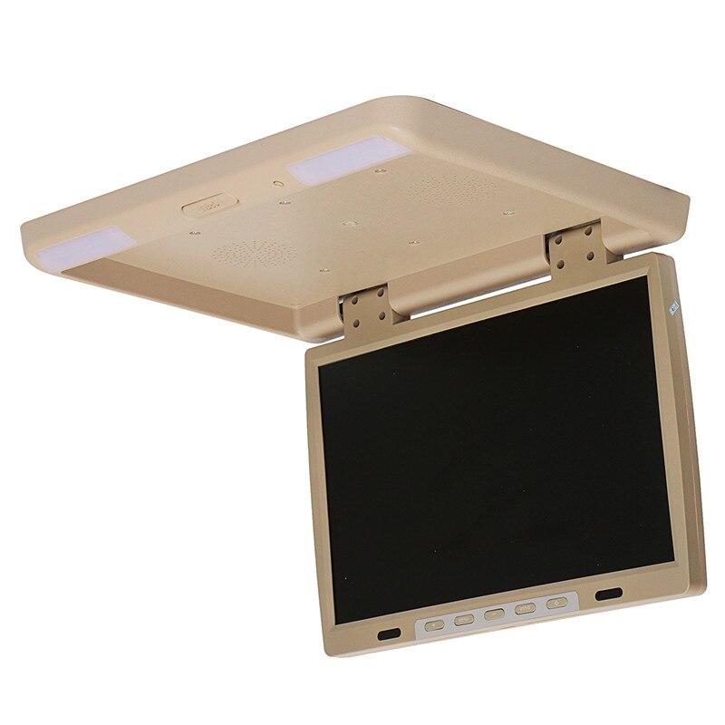 KROAK 15.4 ''Écran De Voiture Flip Toit Mount Monitor Frais Généraux TFT LCD dvd de voiture HDMI Lecteur