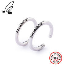 100% 925 Sterling Silver Rings Jewelry Smiley Face Retro Couples Open For Women Men Resizable Ring