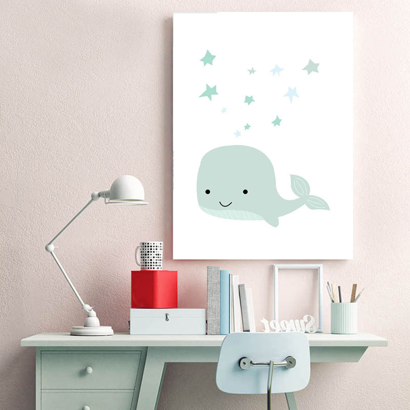Us 3 03 49 Off Baby Nursery Wall Art Canvas Painting Custom Name Poster Cartoon Whale Print Nordic Boy Kids Room Decoration Picture In