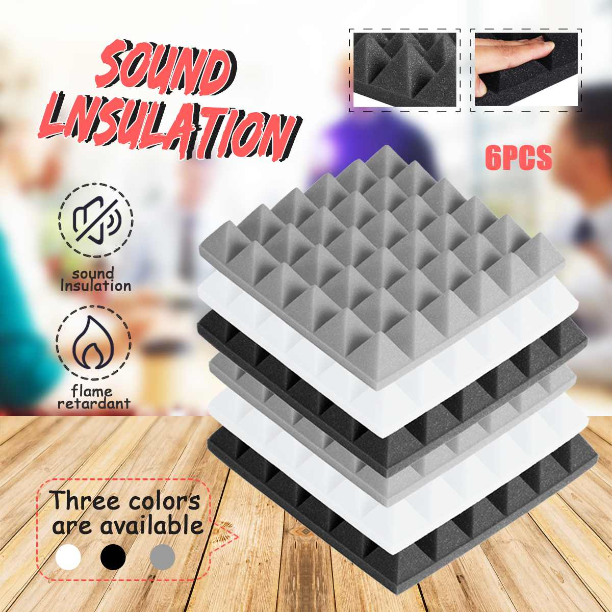 6pcs 30x30x5cm Pyramid Sound Absorbing Sponge Stop Absorption Sponge Drum Room Accessories Cotton Noise Sponge Thickness 5cm