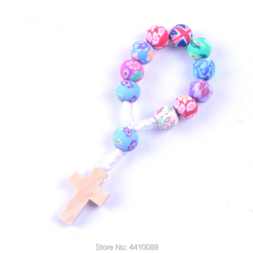 Colorful Cord Decade Rosary Beautiful Polymer Clay Bead Wood Cross White Line