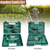 Stainless Steel 5 Pcs/10 Pcs Garden Tools Set Folding Stool Tools Gardening Shovel Rake Clippers Household Multifunctional Kit