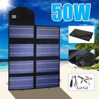 Portable 50W 12V Solar Panel Folding Waterproof Charger Mobile Power Bank for Phone Battery Dual USB Port for outdoor activitie