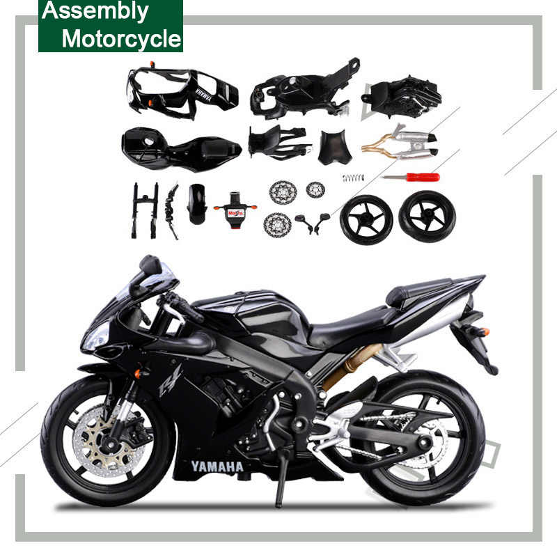 Maisto 1:12 DIY Alloy Motorcycle Model Toy Assembly Motorbike Building Kits  R1 Car Models Educational Toys For Children Gift