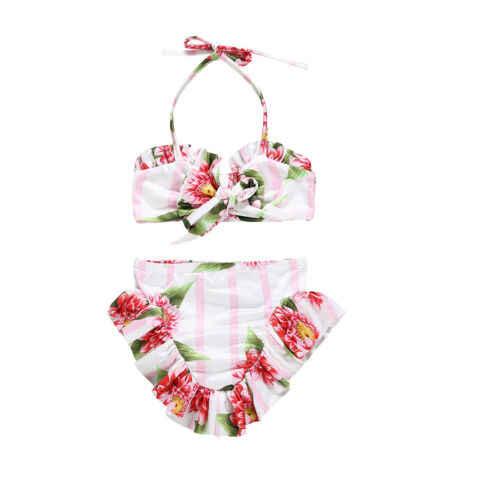 幼児の花水着子供タンキニ花ビキニショートパンツの衣装水着夏の子供ビーチウェア