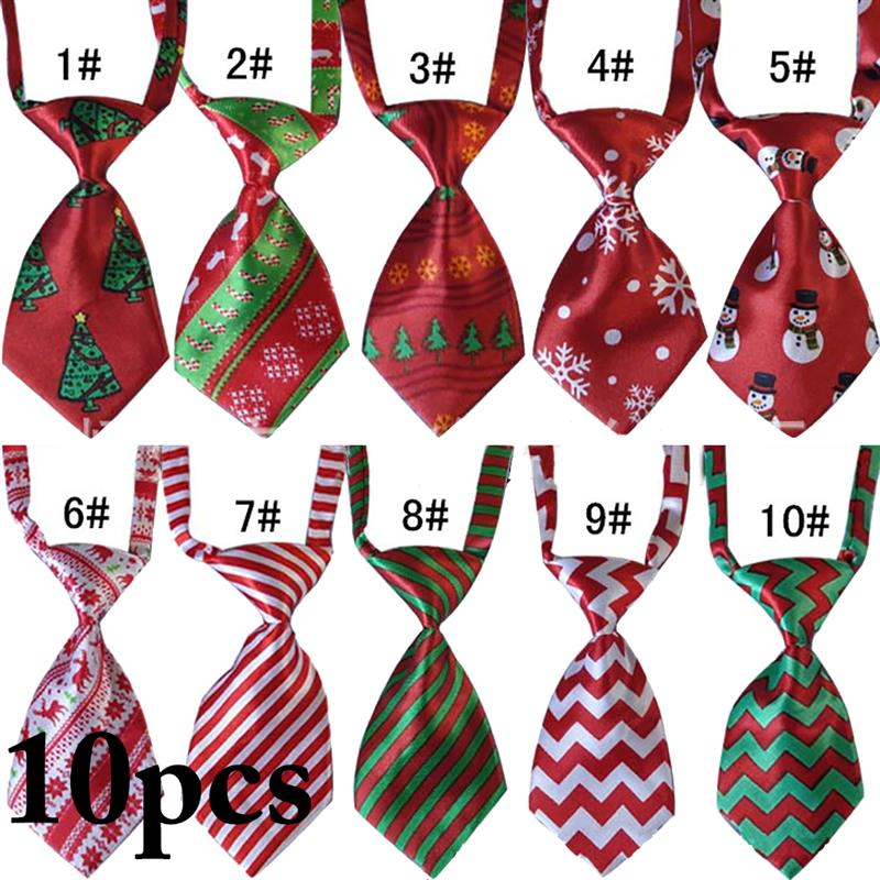 10PCS Christmas Pet Necktie Adjustable Assorted Patterns Dog Necktie Dog Tie Festival Neckties Dog Grooming Supplies