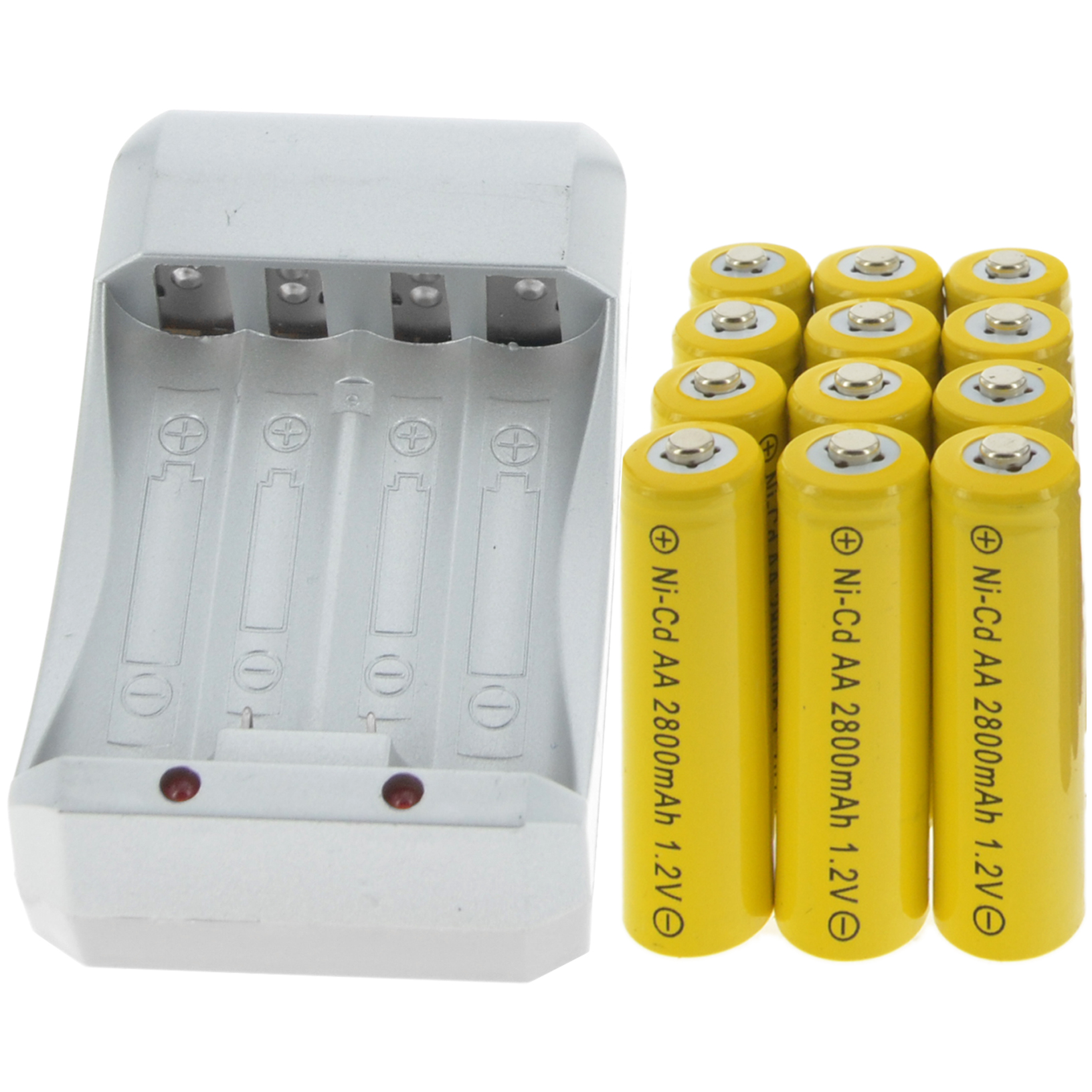 12x AA 2800mAh 1.2V Ni-cd YEL Color Rechargeable Battery Cell +Charger 4 Lots