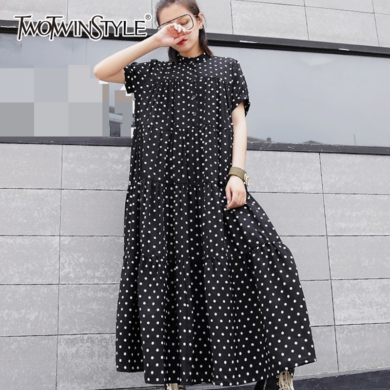 TWOTWINSTYLE Pokla Dot Dresses For Women Short Sleeve Oversized Ankle Length Dress Female Casual Fashion Clothes 2019 Summer