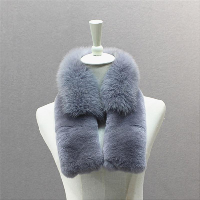 IANLAN nouveau hiver foulard solide femmes pleine peau Rex fourrure de lapin et fourrure de renard écharpes enveloppe fermeture aimantée IL00524