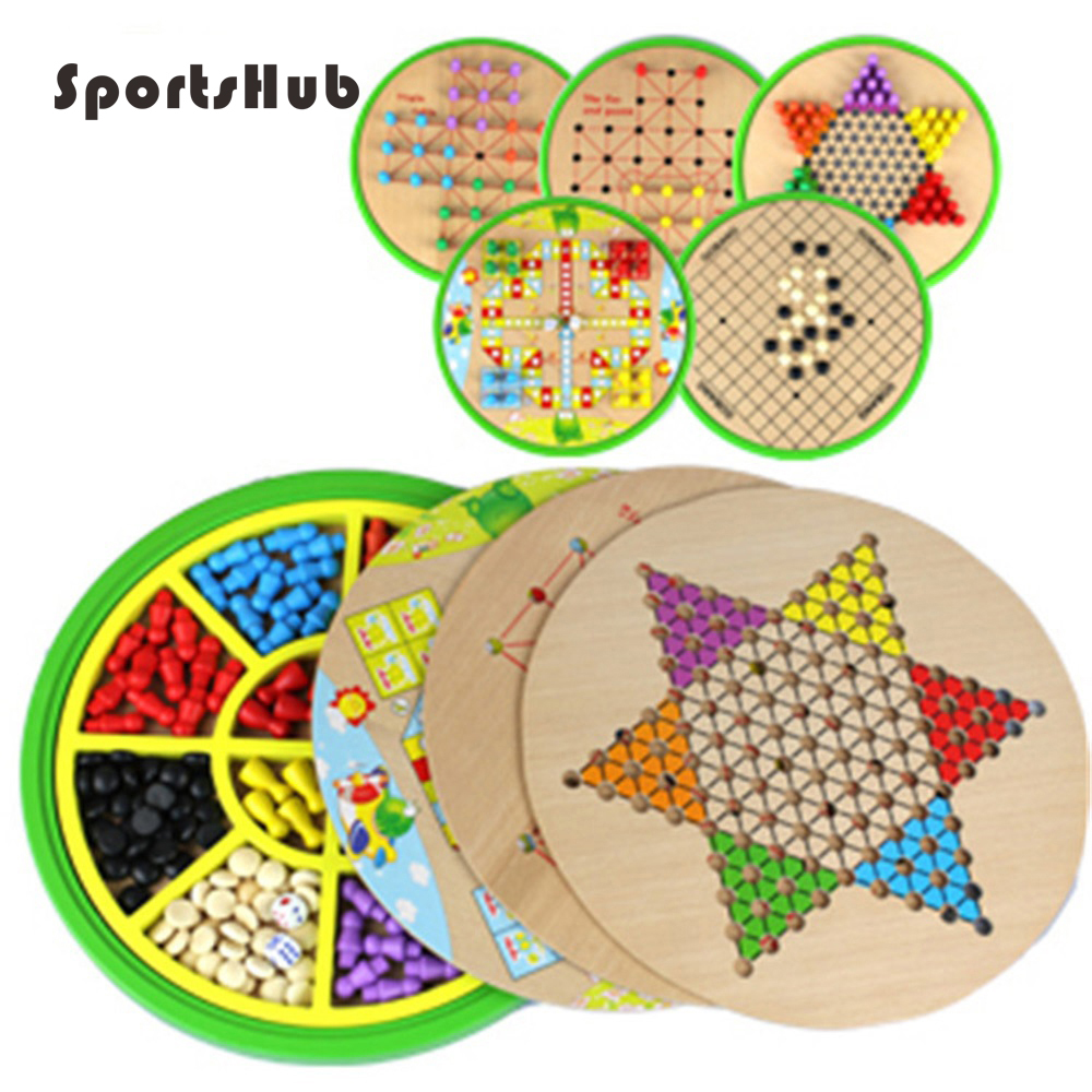 SPORTSHUB Wooden Chess Sets Game Flight Chess/Halma/Gomoku/Animal Chess/Snakes And Ladders/Fox And Geese 10 Or 5 In 1 Set EF0032