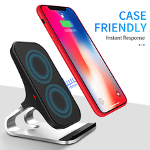 QI Wireless Charger Quick Charge 2.0 Fast Charging For iPhone 7 8 X XS MAX XR Samsung S9 S10 2-Coils Stand 5V/2A & 9V/1.67A