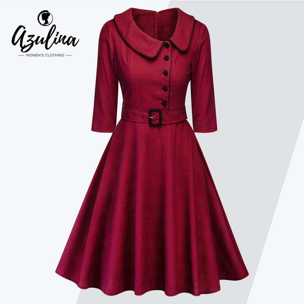 AZULINA Plus Size Plaid Belted A Line Dress Women Clothing Vintage Peter  Pan Collar 3  b2a17f5c0927