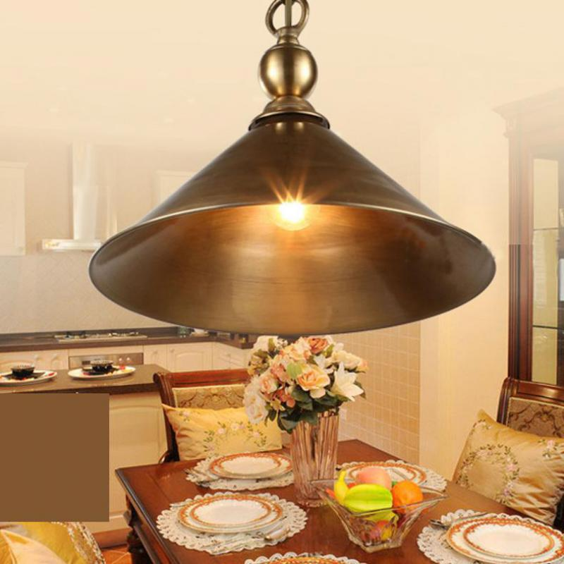 Antipue 1 Pcs Copper Pendant Lamp For Dining Room Cafe Bar Bedroom Kitchen Lighting Vintage Pendant Lights E27 Porch Light Avize