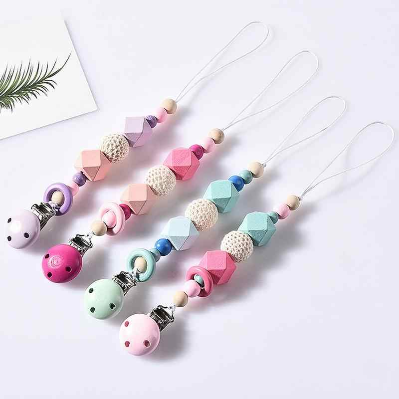 Baby Pacifier Clips Silicone Beads Teether Chain Fall-resisting Baby Teethers Necklaces Infant Toys
