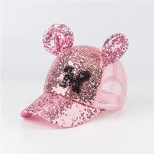 цены Sequin Baby Cap Hat For Baby Girl Kids Boy Girls Baseball Caps Mesh Cap With Ear Cute Adjustable Hip Hop Sun Hats Spring Summer