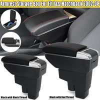 Black/Red Armrest Center Console Storage Box Leather For Honda Fit Jazz Hatchback 2002 2003 2004 2005 2006 2007 2008