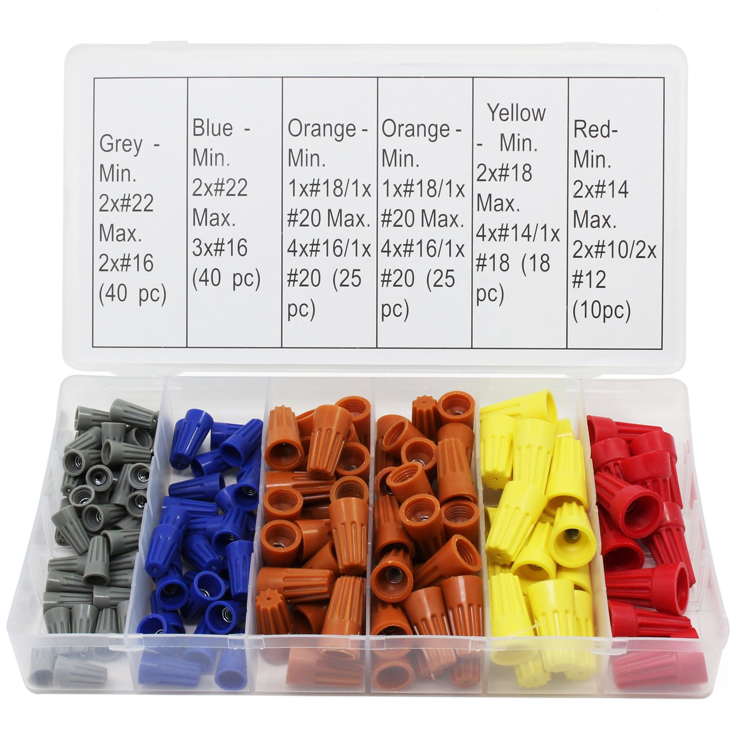 158Pcs 5 Colors Electrical Wire Connector Twist-On Screw Terminal Spring Inserted Nuts Caps Assortment Set158Pcs 5 Colors Electrical Wire Connector Twist-On Screw Terminal Spring Inserted Nuts Caps Assortment Set