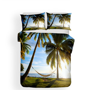 Image 2 - Juego de cama con funda de edredón estampada en 3D, Textiles para el hogar, playa, árbol de coco, para adultos, ropa de cama realista con funda de almohada # HL13