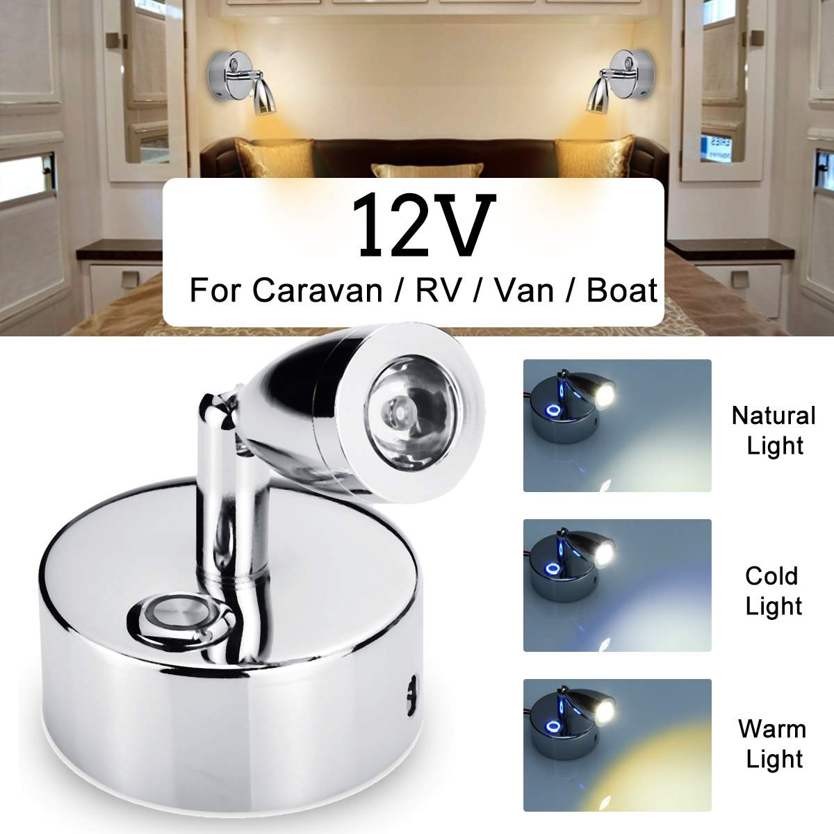 Rotatable Adjustable 12V LED Spot Reading Light Lamp Touchs Switch For RV Van Caravan Boat Wall Spotlight Home Interior Light