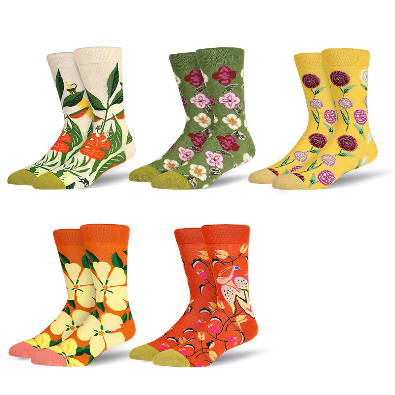 PEONFLY Floral Printed Happy Mens Socks Colorful Gardenia Lily Funny Socks Men Casual Motion Harajuku Skarpetki Men