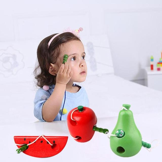 Child Thread Wooden Toy Worm Eat Fruit Pattern Baby Toy Montessori Early Educational Learning Toys For Children Gift