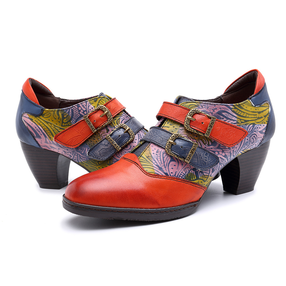Bridal Shoes Boho: Boho Chic Women Genuine Leather Fiests Heels Girls Shoes