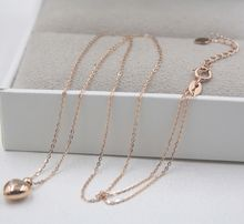 New Pure 18K Rose Gold Chain Women Heart Pendant O Link Necklace/ 1.8-2g