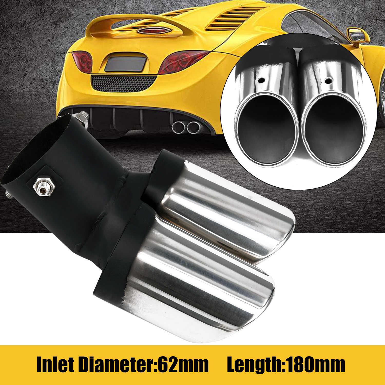 Uniwersalny do samochodów 62mm Chrome Tail krzywa Dual-outlet tłumik rury wydechowej końcówki