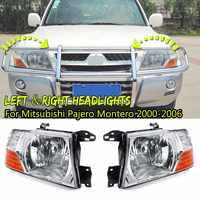 1pair Headlight for Mitsubishi Pajero Montero 2000 2001 2002 2003 2004 2005 2006 Car Light Assembly Fog Light Fog Lamp