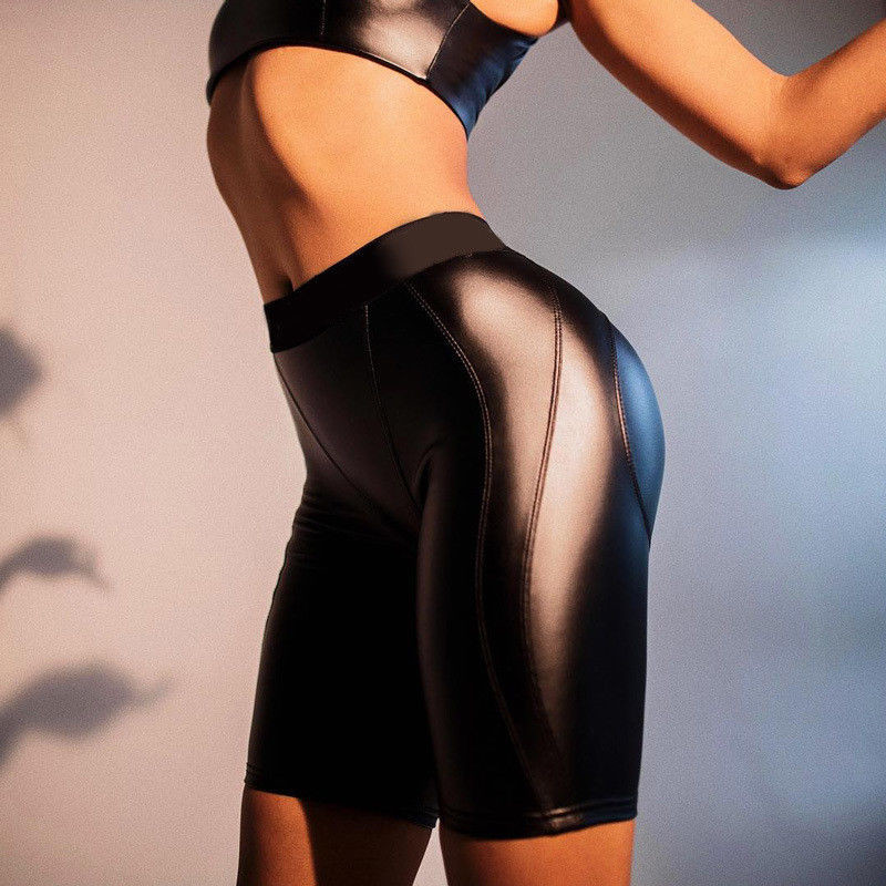 Sexy Women Sports   Shorts   Skinny Stretchy PU Leather High Waist 2018 Female Solid Color Fitness Sporting Push Up   Short   Pant