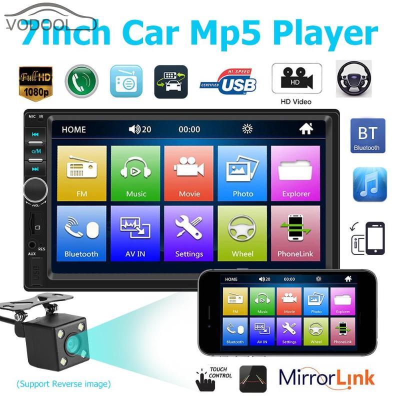 """2 Din 7 """"タッチマルチメディア MP5 プレーヤー Mirrorlink Bluetooth 1080 p ラジオオーディオプレーヤー (アウト) リアビューカメラ  グループ上の 自動車 &バイク からの 車用マルチメディアプレーヤー の中 1"""