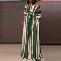 В Африканском этническом стиле в горошек Макси платье женское зеленое Полосатое свободное повседневное большое Пышное Платье с высокой та...