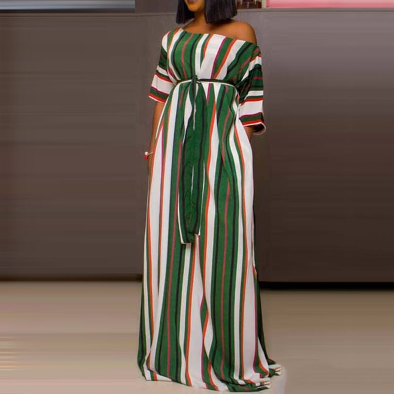 African Ethnic Style Polka Dot Maxi Dress