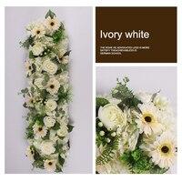 1M Customize artificial flower row wedding backdrop arch decor flower wall wedding road lead flower arrangement silk flower wall