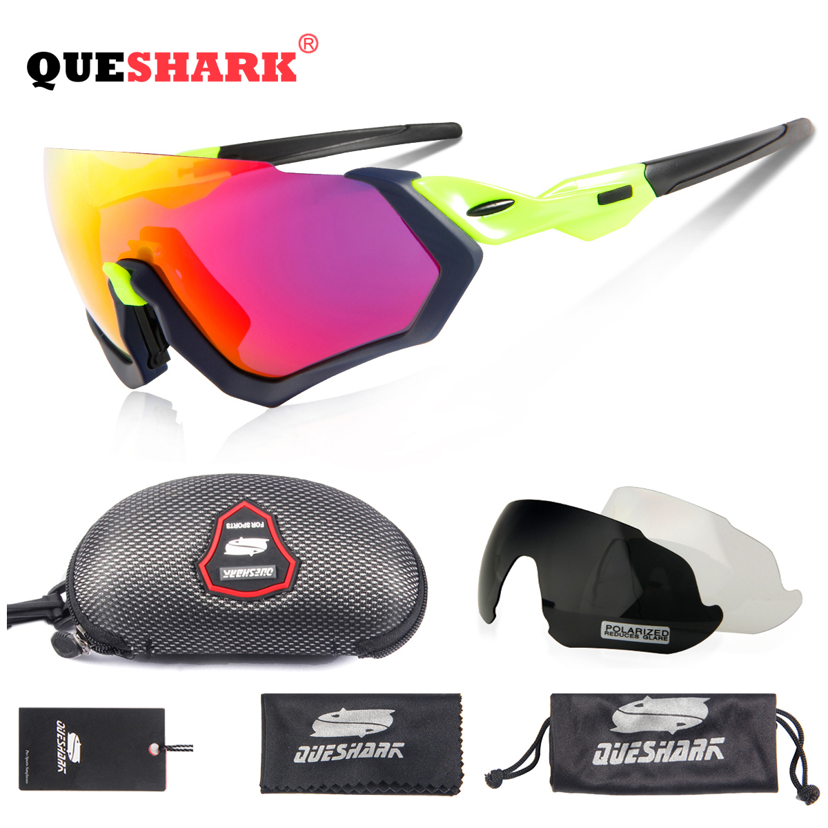 843a1c7cdb Detail Feedback Questions about Queshark Sport Sunglasses Mtb Cycling  Glasses Bike Glasses Men Women Bicycle Goggles Cycling Eyewear 3 Lens  Exchangeable ...