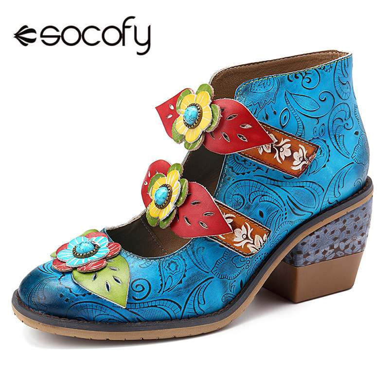 SOCOFY Elegance Vintage Retro Floral Pattern Genuine Leather Stitching Hook Loop Pumps Bohemian Pumps Ladies Shoes Ladies ShoesSOCOFY Elegance Vintage Retro Floral Pattern Genuine Leather Stitching Hook Loop Pumps Bohemian Pumps Ladies Shoes Ladies Shoes