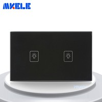 Touch Switch 2 Gang 1 Way Black Crystal Glass Panel US Standard Wall Socket For Lamp Switches